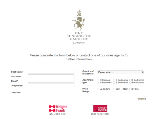 one kensington gardens registration