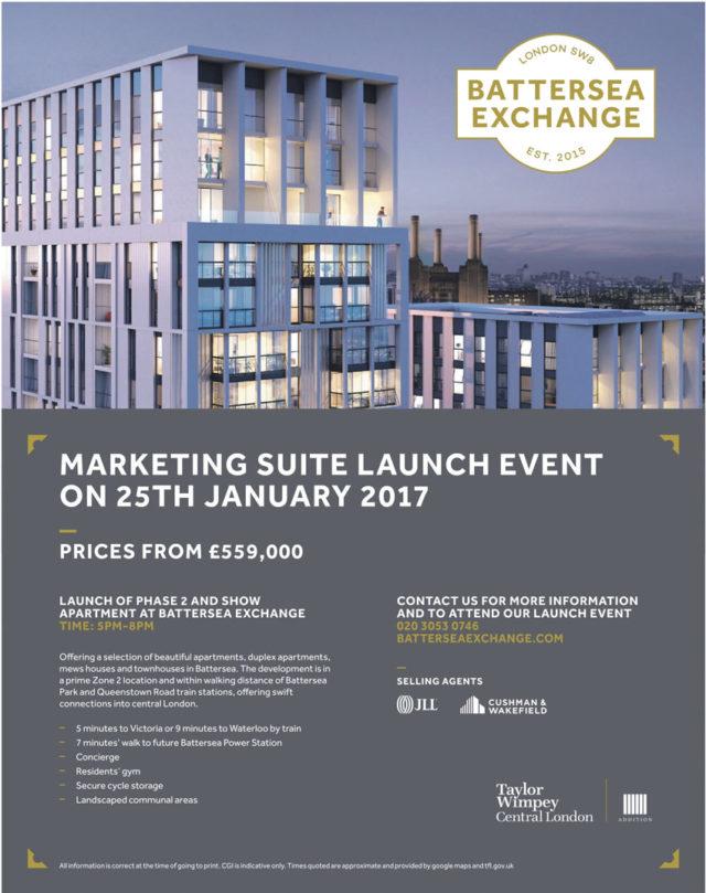 Battrsea Exchange marketing suite advertisement janaury 2017