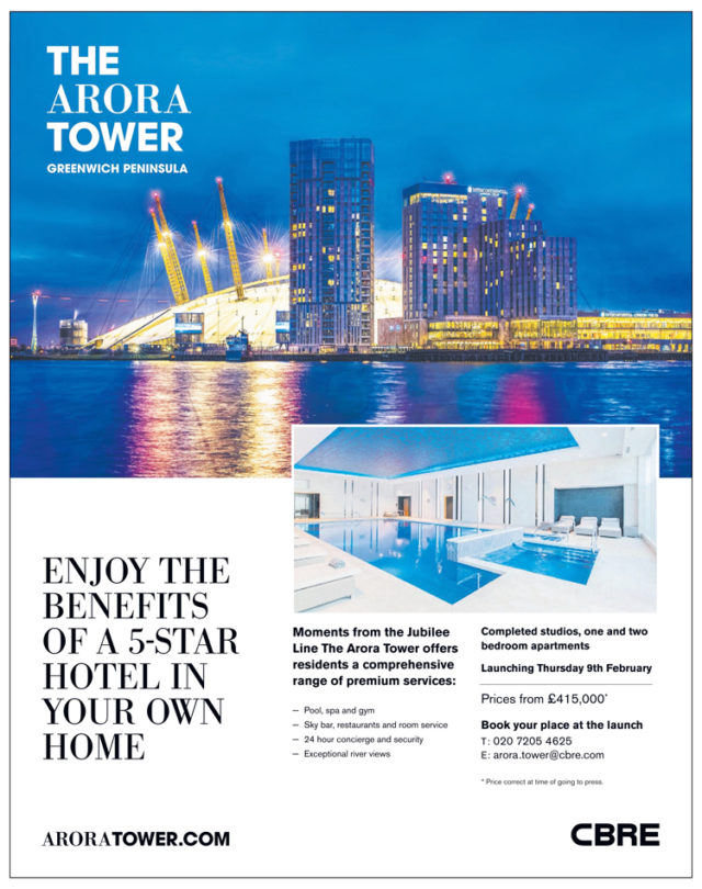 The Arora Tower in Greenwich Peninsula SE10 Homes & Property Ad