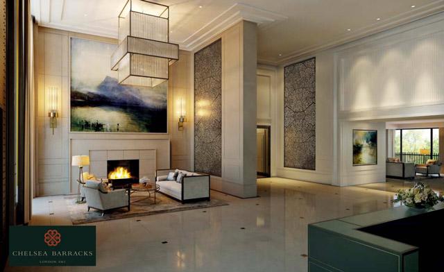 Chelsea Barracks development interior design lounge