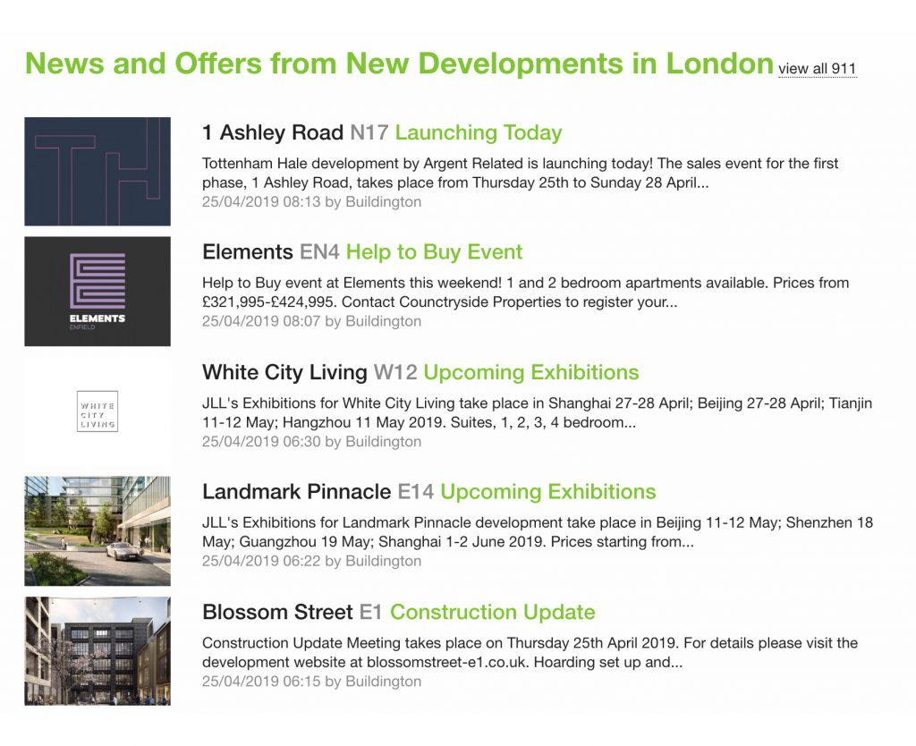 news and offers from new developments