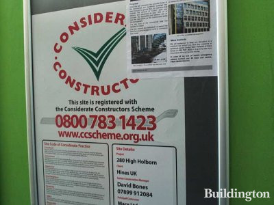 The site is registered with Considerate Construction Scheme