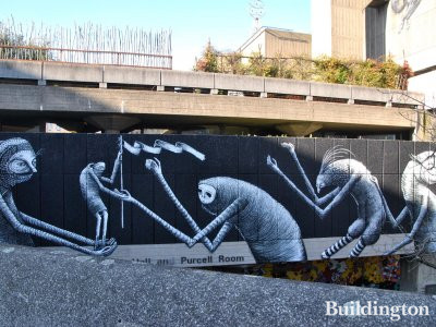 Mural by ROA and Phlegm on Southbank Centre in March 2014.