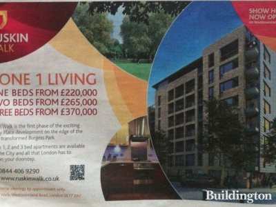 Image of Ruskin Walk development advert in Homes & Property/Evening Standard