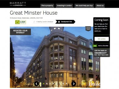 Screen capture of Great Minster House page on Barratt Homes website www.barrathomes.co.uk