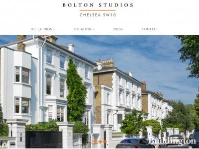 Screen capture of Bolton Studios website in Chelsea, London SW10