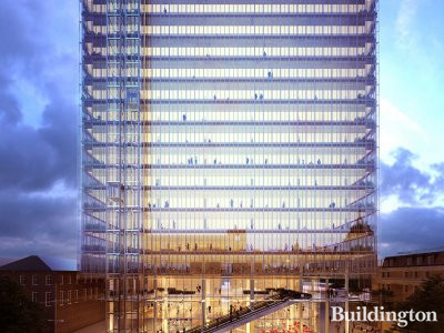 CGI of the proposed office building unveiled in July 2016. View to Paddington Cube from Hilton London Paddington. Image via paddingtonquarter.co.uk
