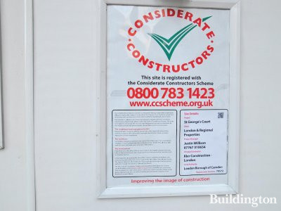 10 Bloomsbury Way / St George's Court Considerate Constructors banner on site in 2014