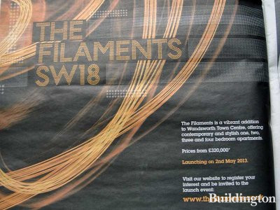 The Filaments advertisement in Homes & Property, Evening Standard, 10. April 2013