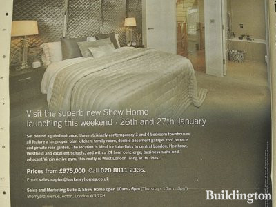 Napier at West 3 development advertisement in Homes & Property, Evening Standard 23.01.2013