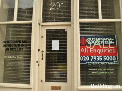 Notice of repossession on the window. All enquiries  to Cushman & Wakefield.