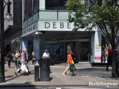 Entrance to Debenhams on the left hand side of the building on Oxford Street.