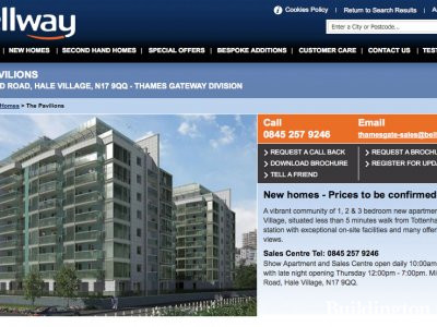 Screen capture of The Pavilions page on the developer's website www.bellway.co.uk.