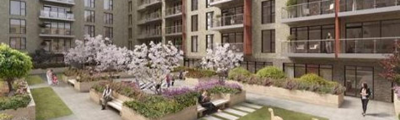 CGI of Lansbury Square development on Bellway website
