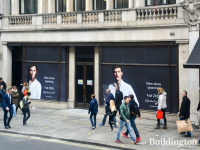 GANT store opening soon at 184 Regent Street building