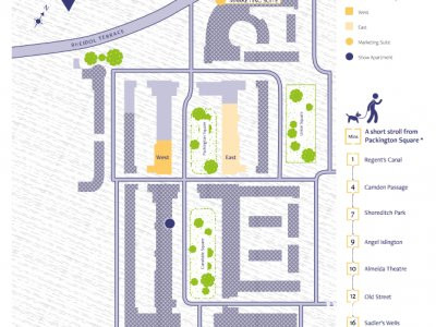 Packington Square site map in the development brochure published in 2017