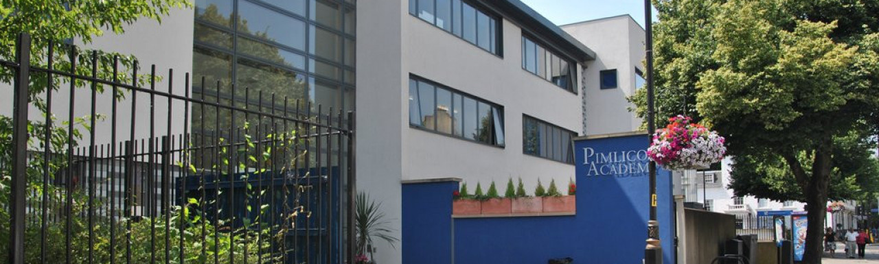 Pimlico Academy building on Lupus Street in Pimlico, London SW1.