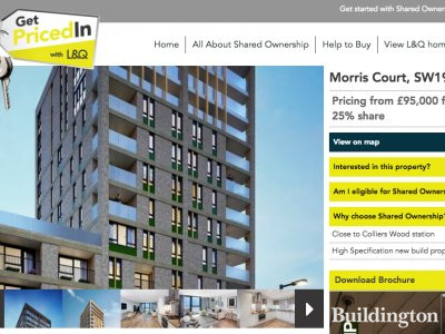 Morris Court development at L&Q website in May 2017; screen capture.