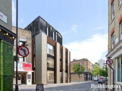 CGI of Holywell Centre at 1 Phipp Street Design and Access Statement and accompanying Conservation Area and Heritage Statement May 2015 by Squire & Partners; screen capture from hackney.gov.uk