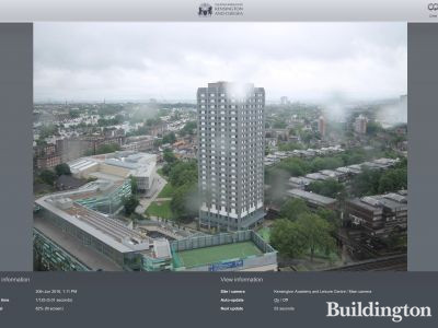 Grenfell Tower after the refurbishment in June 2016. Screen capture from the webcam at rbkc.regenology.co.uk