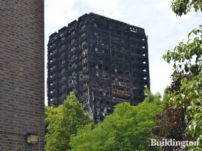 Grenfell Tower nearly a month after the fire, in July 2017
