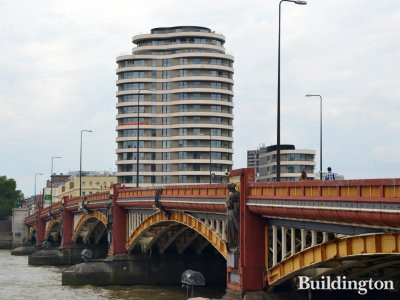 Riverwalk building in July 2017; View from across the Vauxhall Bridge.