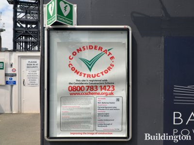Considerate Constructors scheme banner at the Battersea Power Station development