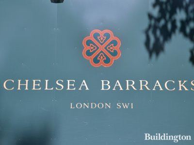 Chelsea Barracks hoarding in July 2017