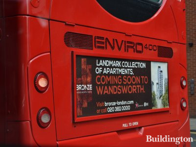 Advertisement for The Bronze development on the buses in London in July 2017.