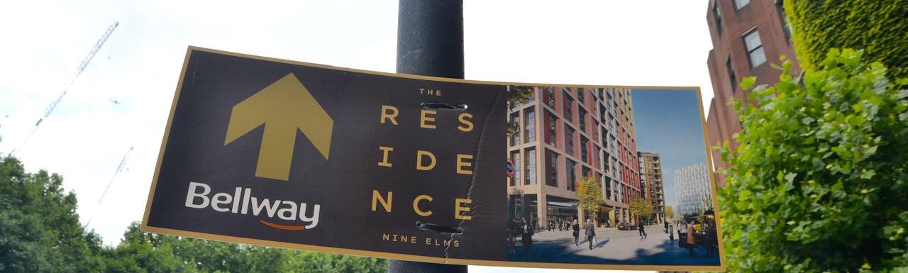 The Residence by Bellway advert on Nine Elms Lane