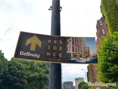 The Residence by Bellway advert on Nine Elms Lane