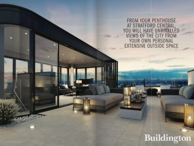 The Penthouse Collection at Stratford Central; screen capture from the brochure at stratford-central.co.uk.