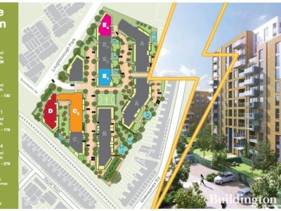 Site map in the brochure for Electric Quarter at guinnesshomes.co.uk; screen capture.