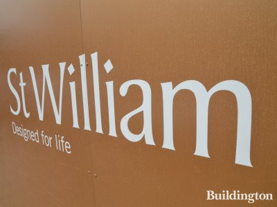 St William logo at Prince of Wales Drive development site in July 2017