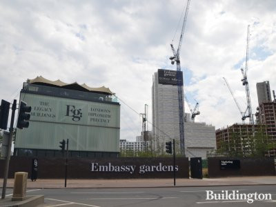Embassy Gardens site in July 2017. The Legacy Buildings - London's Diplomatic Precinct