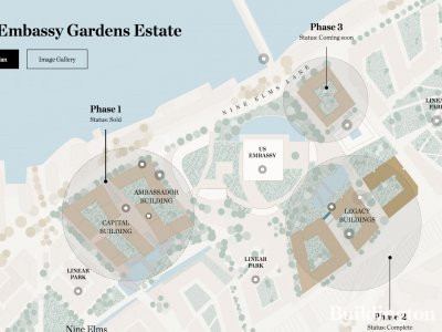 Embassy Gardens site map at embassygardens.com in July 2017; screen capture.