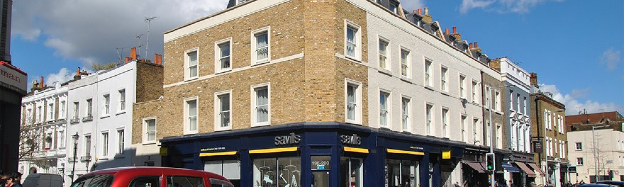 Estate agent Savills on the corner of Redcliffe Road and Fulham Road in London SW10
