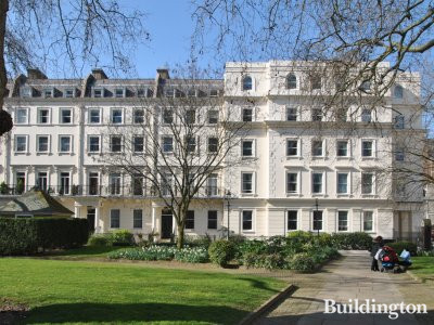 Salisbury House (on the right) overlooking Bessborough Gardens next to Hartington House in Pimlico, London SW1.
