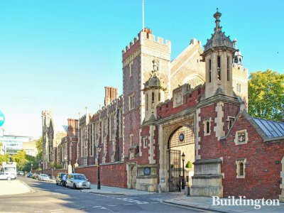 The Great Hall and the Main Gate to Lincoln's Inn, view to the building from the junction of Lincoln's Inn Fields and Serle Street.