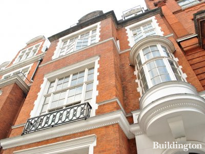 Red brick facade of 29 Palace Court in Bayswater, London W2.