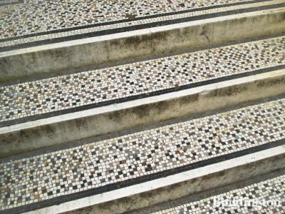 Tiled steps leading to 27 Palace Court in Bayswater, London W2.