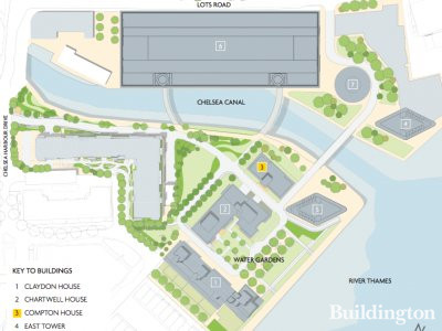 Site map of Chelsea Waterfront development from Compton House brochure at chelseawaterfront.com; screen capture.