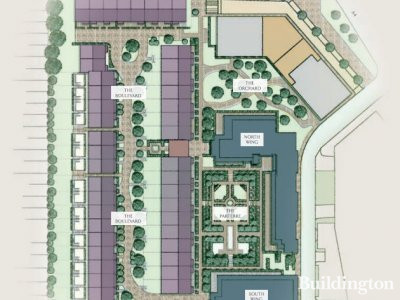 Site plan of Chiswick Gate development in the brochure at berkeleygroup.co.uk; screen capture.