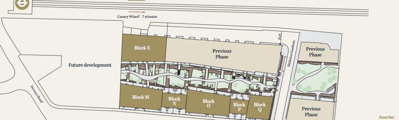 Site plan of Merchants Walk development in London E3.