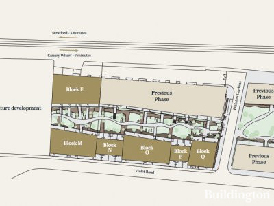 Site plan of Merchants Walk development in London E3.