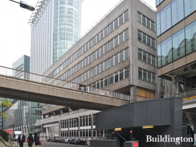 Former 11 Moor Lane building and Willoughby Highwalk were demolished by Keltbray to make way for 21 Moorfields site; City Point is left of the site, Moorgate Exchange building on the right.