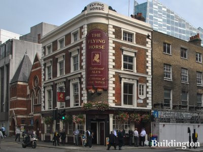The Flying Horse pub building on the corner of Sun Street and Wilson Street in the City of London EC2.