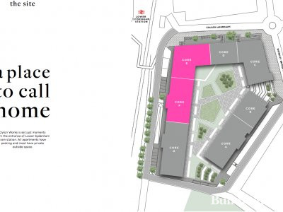 Site plan of Dylon Works in the development brochure at crestnicholson.com; screen capture