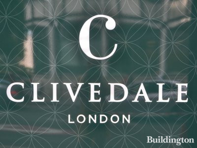 Clivedale logo on the hoarding at the site of the Mayfair Park Residences on Curzon Street.
