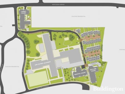 Site plan of the Putney Rise development by Barratt at barratthomes.co.uk.